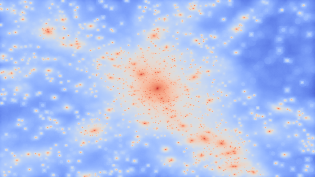The view of a galaxy cluster with the usually invisible dark matter revealed. This view shows where the dark matter is located within the simulated cluster, each bright spot is a 'knot' of dark matter corresponding to the location of a galaxy. Credit: Chris Power, ICRAR/UWA.