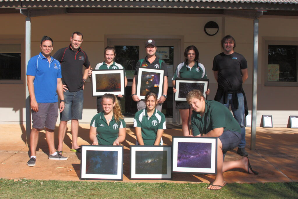Derby District High School students with the images they took during an AstroPhotoArt program.