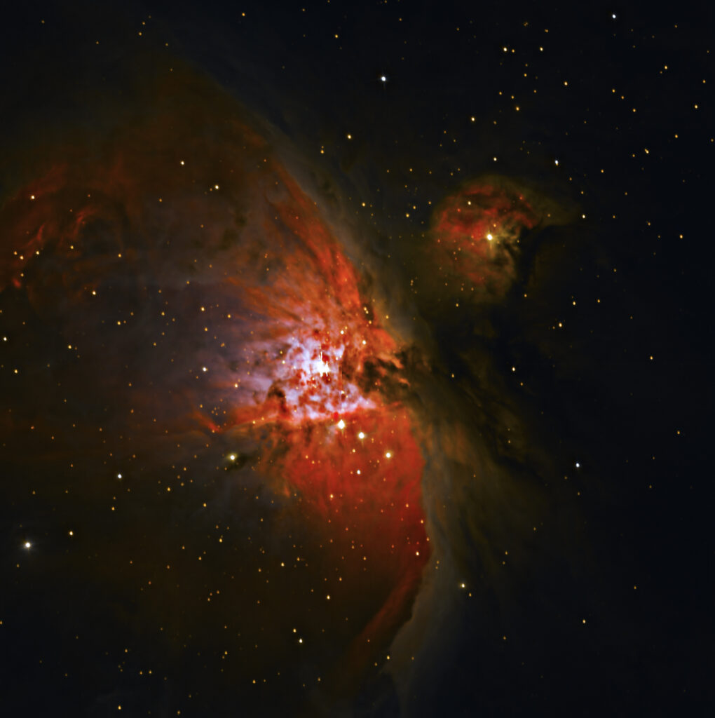 The Orion Nebula taken by Paul Luckas while testing the new SPIRIT 6 telescope, and processed by Colin Eldridge.